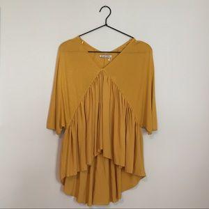 NWT Zara mustard flowy blouse